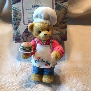 """Cherished Teddies """"Dennis"""" chef with hamburger"""